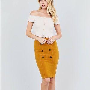 Dresses & Skirts - Button Detail Rib Midi Skirt